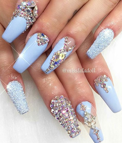 Baby blue rhinestone nails