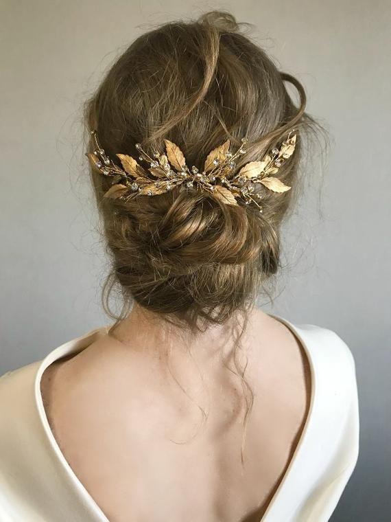 sparkle hair accessory for wedding hair crystal leaf tiara beaded opal crystal hair ornament Gold leaf headpiece wedding