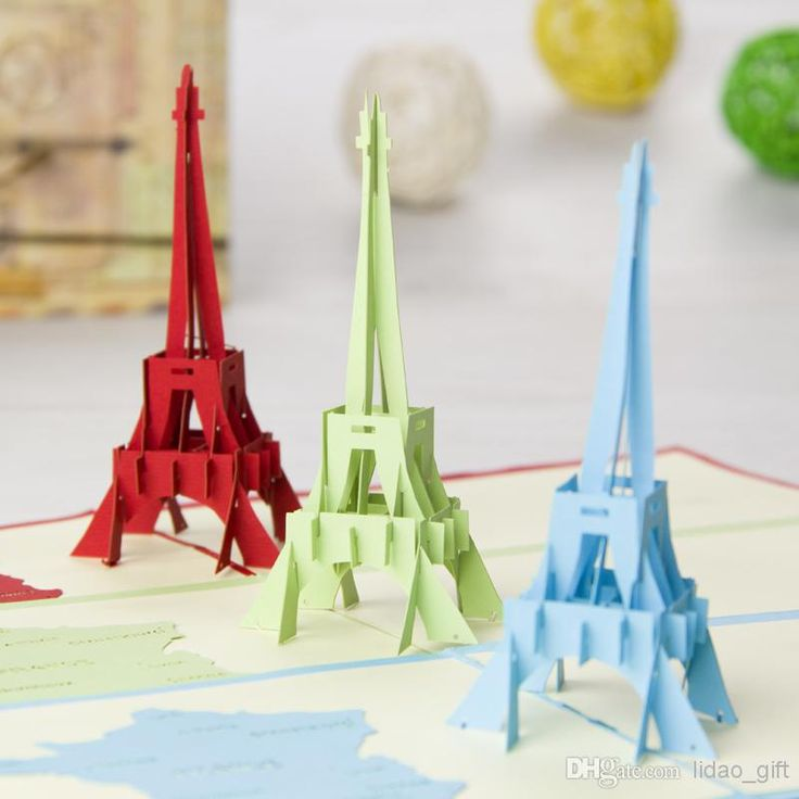 Wholesale Greeting Cards - Buy La Tour Eiffel Tower Handmade Creative Kirigami
