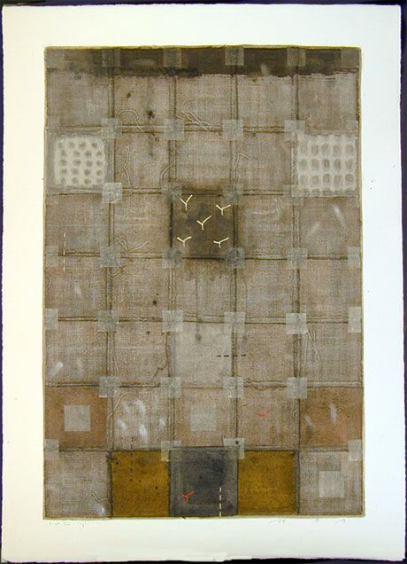 HAYASHI, Takahiko D-28 June 2002 (painting) mixed media painting with fabric, thread, raffia, papers,and paint, paper-mounted