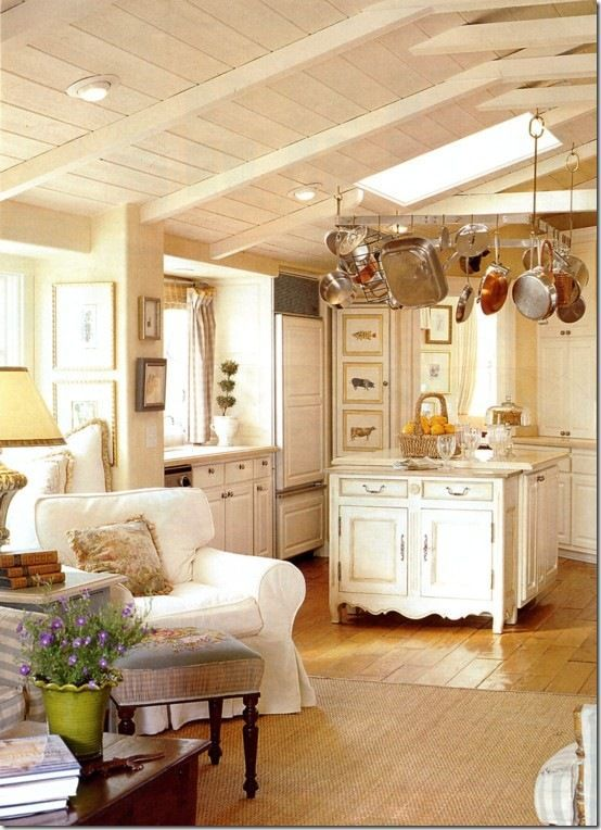 This Quaint Cottage Kitchen Lives Large with Beach Cottage Style and Comfort! See More at thefrenchinspiredroom.com