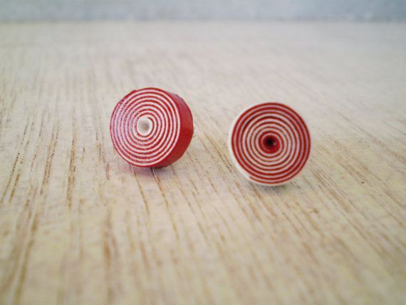 Stud Spiral Earrings Red White Paper Minimal by LeftysHandcrafts, €6.00