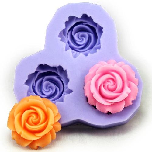 Resin Mold Soap Mold Silicone Mold Flexible Mold 3-holes Rose DIY Handmade. $6.99, via Etsy.