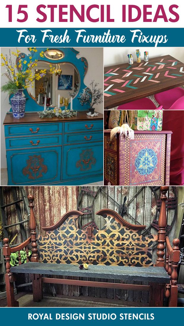 Here's a list of our favorite upcycled and repurposed furniture projects using Furniture Stencils painted on colorful dressers, tables, and more.