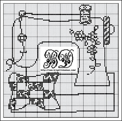 Cute sewing machine cross stitch from http://www.brigittedadaux.com