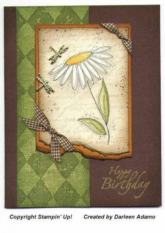 handmade birthday card ...  earthy geen and brown ... like the torn edges and sponging adding to the earth theme ... Stampin' Up!