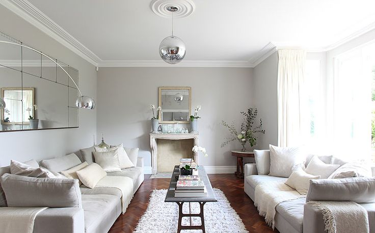 Wonderful soothing + modern living room via bliss blog: Wall Colors, Coffee Tables, White Living, Living Rooms, Walnut Wood, White Sofas, Wood Floors, Grey Wall, Gray Wall