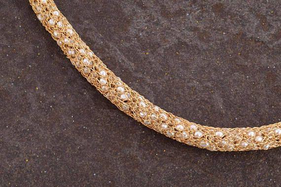 Pearls Gold Collar Necklace,Elegant Bib Gold #jewelry #necklace @EtsyMktgTool http://etsy.me/2i7IYSZ