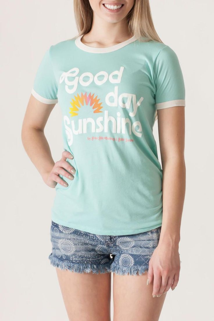 Mint and ivory soft cotton blend ringer tee with Good Day Sunshine graphic. Lyrics by McCartney and Lennon are printed on the inside back of the shirt.       Good Day Sunshine by Junkfood. Clothing - Tops - Short Sleeve Clothing - Tops - Tees & Tanks Clothing - Tops - Graphic Tees Philadelphia, Pennsylvania