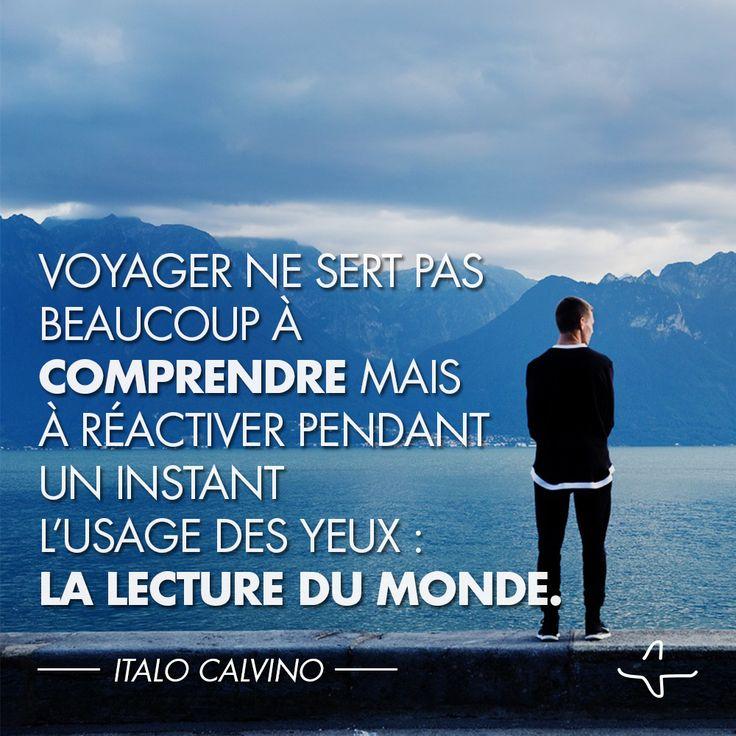 """""""Voyager ne sert pas beaucoup à comprendre mais à réactiver pendant un instant l'usage des yeux: la lecture du monde."""" Italo Calvino #IncitationAuVoyage #QuoteAndTravel #Citation #Voyage"""