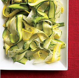 Zucchini Ribbons. Yummy!: Basil Leaves, Squash Ribbons, Basil Recipes, Daikon, Ribbons Salad, Squashes, Zucchini Ribbons, Zucchini Yellow, Yellow Squash