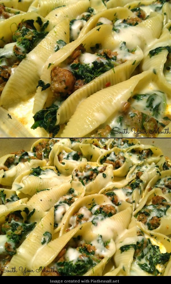 Sausage & Spinach Stuffed Shells with Garlic Cream Sauce