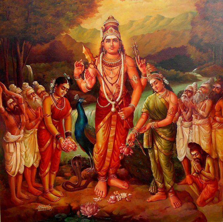 Murugan, Valli and Devayani by Artist Sabapathy