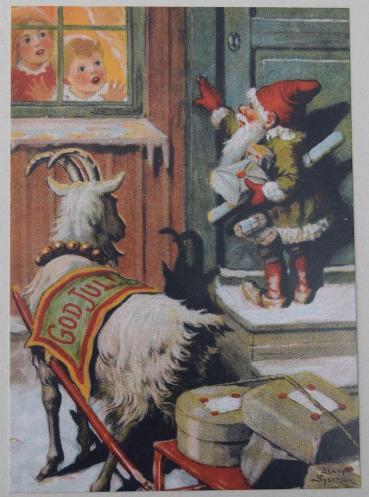 Jenny Nystrom Gnome and Goat with Parcels Free Shipping Postcard Sweden | eBay