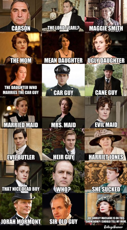 Downton Abbey Character Name Guide  Here's the fastest, simplest character primer.     Jorah Mormont is the best one. I hate him so much in every show he's in.