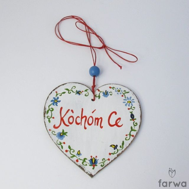 "Kaszubskie serduszko ""Kocham Cię""  The heart is cut from plywood, hand painted with acrylic paint and varnish protected. Suspended on a natural string. Dimensions: 10cm x 10cm .www.farwa.pl"