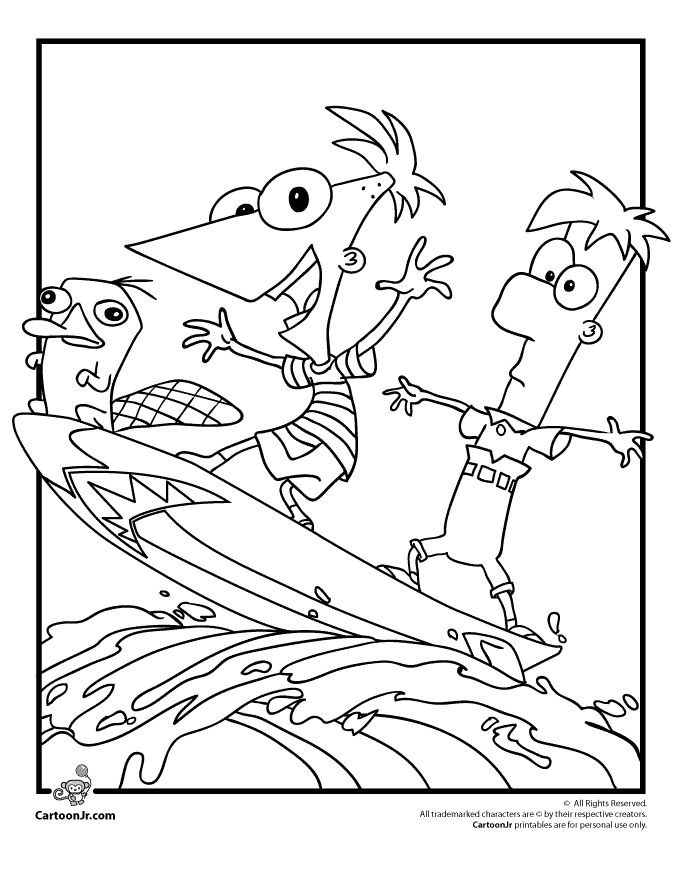 phineas and ferb coloring pages phineas ferb and perry coloring page cartoon jr
