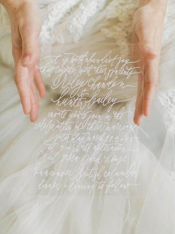 Calligraphy and Acrylic Wedding Vows | Artiese Studios on @bajanwed