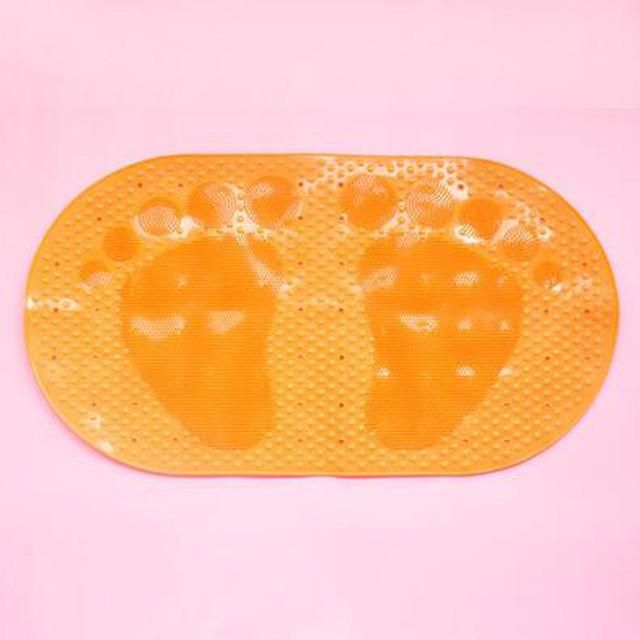 Bathroom and Kitchen Impermeable PVC Anti-slip Bath Mat Cute Feet Shape.