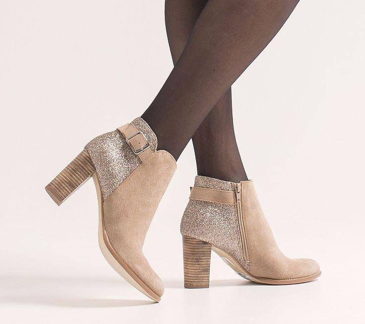 Boots paillettes croûte de cuir beige - Boots / bottines - Chaussures femme