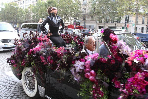 Lady Gaga arrives at Sephora on Champs Elysee for the launch of her new perfume.