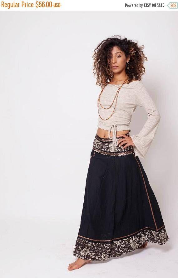 Bohemian Skirt  Boho Skirt  Bohemian Clothing  Black Gypsy