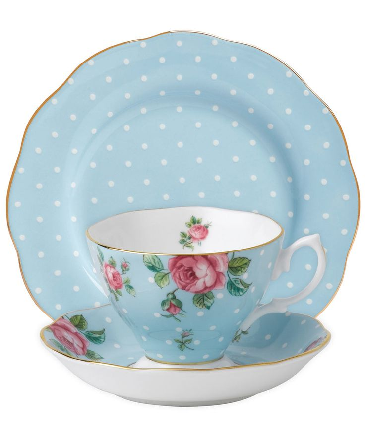 Polka blue vintage Royal Albert 3-piece tea set from @liberty London