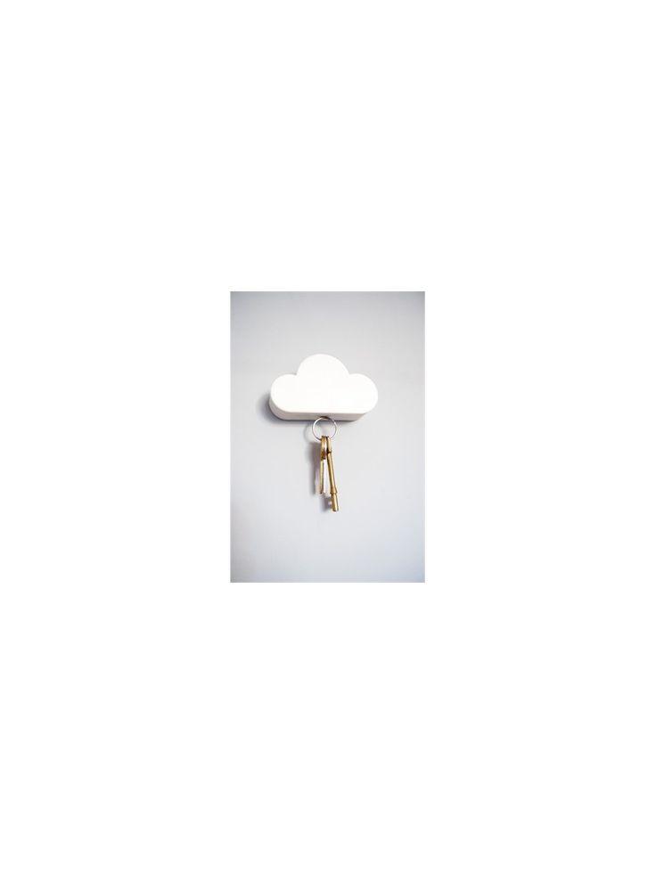 Range-clés mural magnétique en forme de nuage. Dimensions: Long.10,5 cm X Larg.3 cm X Haut.6 cm
