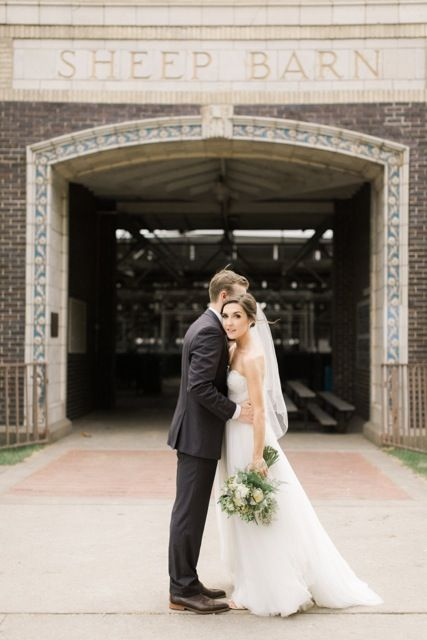 The Iowa State Fair Grounds make a beautiful backdrop for wedding photos.  Photo credit: Aly Carroll Photography | www.alycarroll.com
