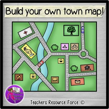 Build your own town map clip art - color and black line. Product includes: • Bakery • Bus stop • Clothes shop • Fire station • Florist • Hospital • Park / playground • Police station • Post office • Restaurant • School • Supermarket • Train station • Zoo • Town map • Cars • Trees