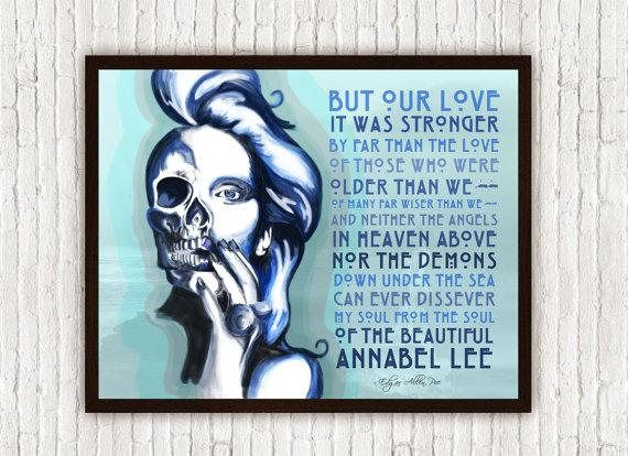 Edgar Allan Poe Wall Art Annabel Lee Poem Poster Print Poetry Art Boho Decor Bohemian Decor Romantic Gifts Pastel Annabel Lee Edgar Allen Poe Poe