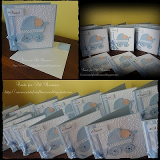 Handmade Baby Invites with emboss background with blue stroller  blue ribbon