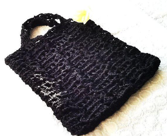 Handmade crochet tote small bag  black by LOLAsHome on Etsy, $22.00