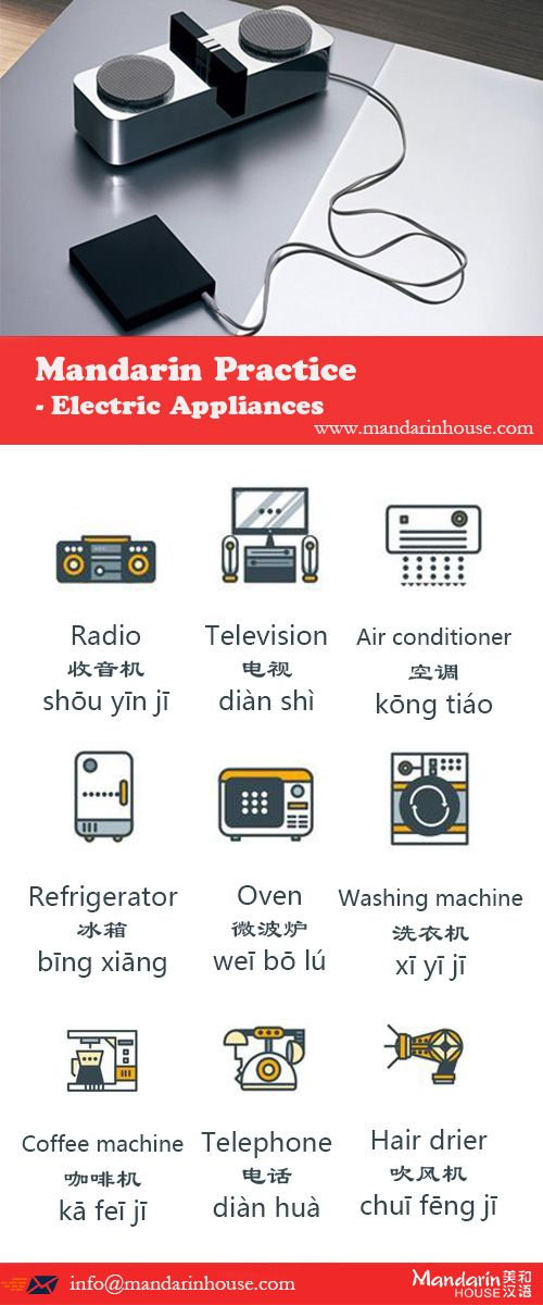 Electric Appliances in Chinese.For more info please contact: bodi.li@mandarinhouse.cn The best Mandarin School in China.