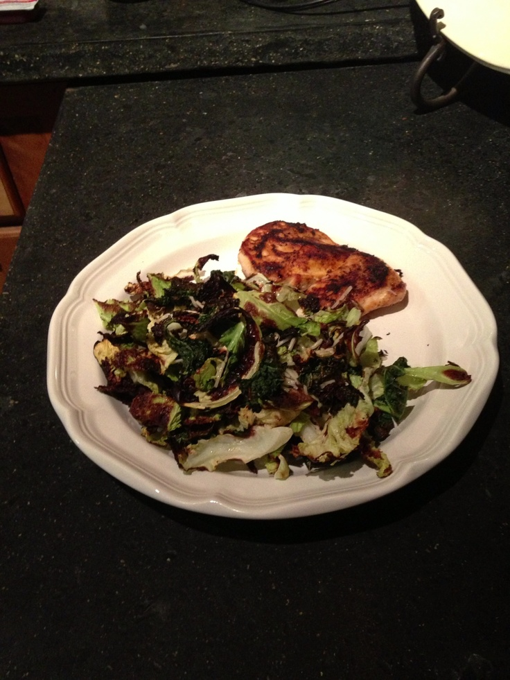 Grilled chicken and oven roasted Savoy cabbage. | Food, my ...