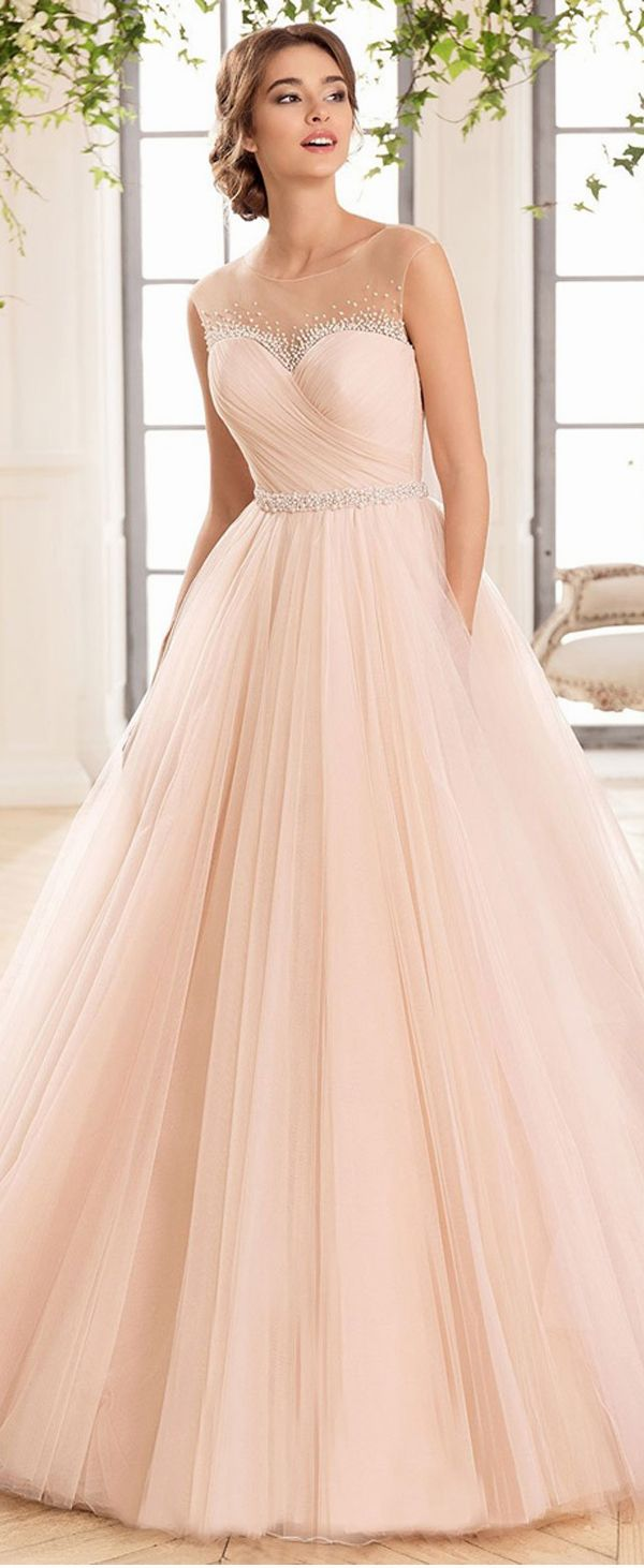 Charming Tulle & Satin Scoop Neckline A-Line Wedding Dresses With Beadings