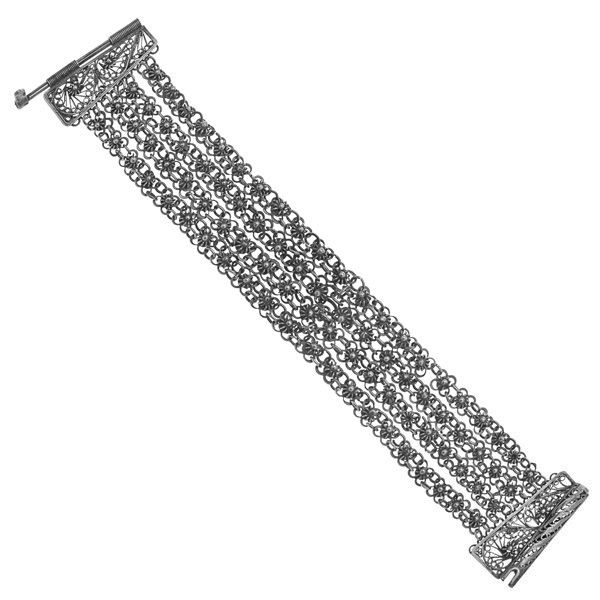 Silver Finely Made Canatille Bracelet. European Chic! Circa 1880! Still looks fab today! Drape it over your wrist!