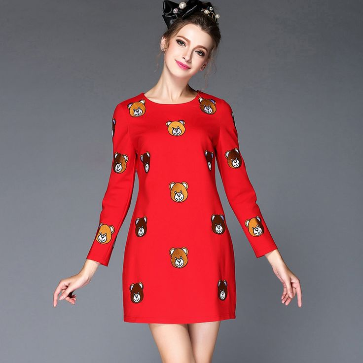 S- 5xl Embroidery Bear Pattern Autumn  Dress Black Red Long Sleeve Mini   Vestidos Mujer  est Like if you remember Visit our store