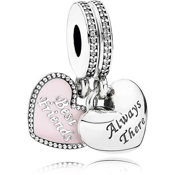 Pandora Charm - Sterling Silver, Cubic Zirconia & Enamel Best Friends,... (91 AUD) ❤ liked on Polyvore featuring jewelry, pendants, silver, pandora charms, pandora jewelry, sterling silver enamel charms, cz jewellery and cubic zirconia jewelry