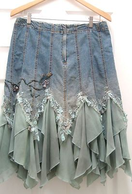 Upcycled denim skirt couture, denim with organza and lace.