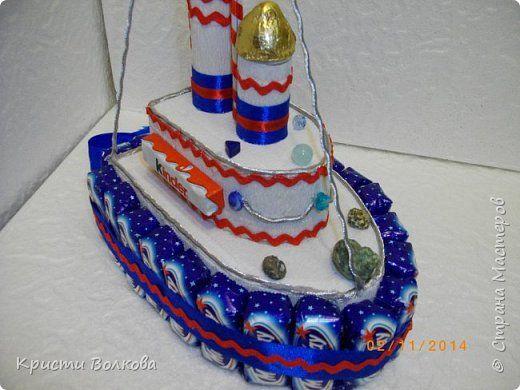 Свит-дизайн 23 февраля День защиты детей День рождения Моделирование конструирование Пароходик из шоколадок фото 3