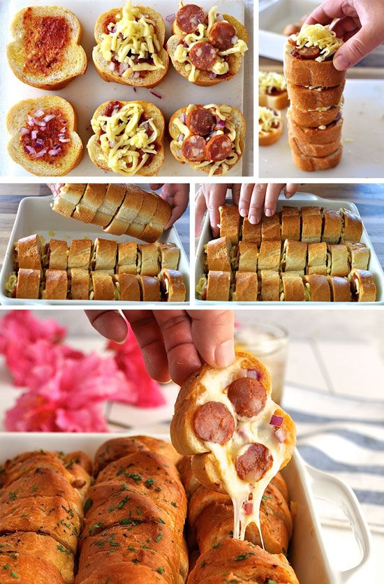 Pull Apart Garlic Pizza Bread - every piece is like a mini pizza! Can be made ahead and even reheated in the microwave.