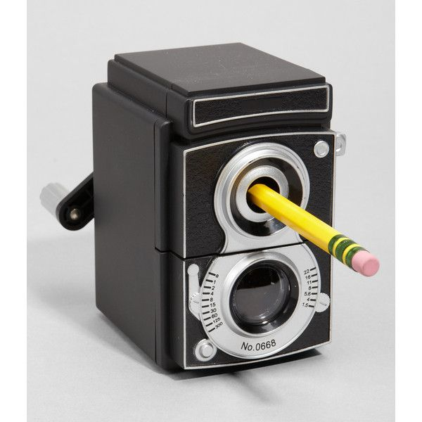 Vintage Camera Pencil Sharpener ($16) ❤ liked on Polyvore featuring home, home decor, office accessories, vintage office accessories, vintage pencils and vintage pencil sharpener