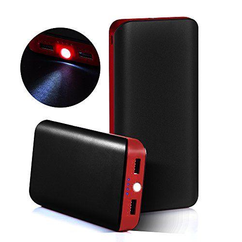 awesome GRDE® 25000mAh Ultra Alta Capacidad 2 USB Puertos Cargador Portátil Banco de Potencía, Batería de Reserva Externa Pack con una Linterna para iPhone, iPad, Samsung, HTC, LG, Nexus (negro - rojo)