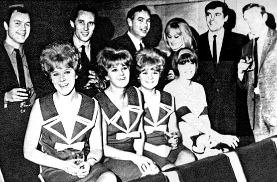 #Sixties | Dateline Diamonds cast ~ Back row, l to r: Kenneth Cope, George Mikell, Conrad Phillips, Anna Carteret, Burnell Tucker, William Lucas. Front: In matching dresses, The Chantelles – Sandra Orr, Jay Adams and Riss Long, sitting beside Kiki Dee, 1965.