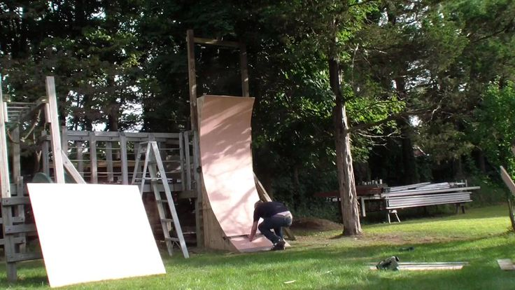 American Ninja Warrior inspired kids 9 foot warped wall build and run in time lapse