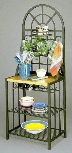 Holly & Martin Summit Baker's Rack by Holly & Martin. $169.99. This substantial and beautiful accent piece adds functional storage and display space. Get creative and arrange plants or spices in the two stylish adjustable basket shelves. Six utility hooks are included that can be moved around and used for anything that you can imagine. Constructed of solid tubular steel and covered in a durable black finish, this contemporary baker's rack is as durable as it is versatile. The gol...
