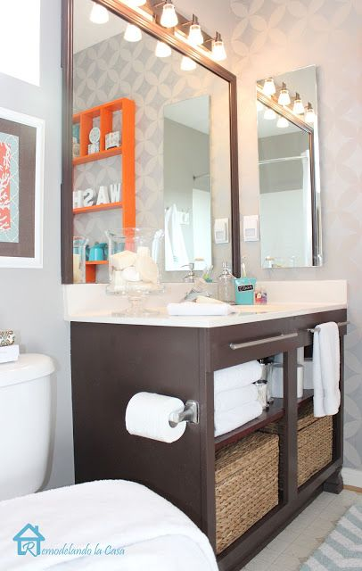 Bathroom makeover on a budget - orange, teal and grey