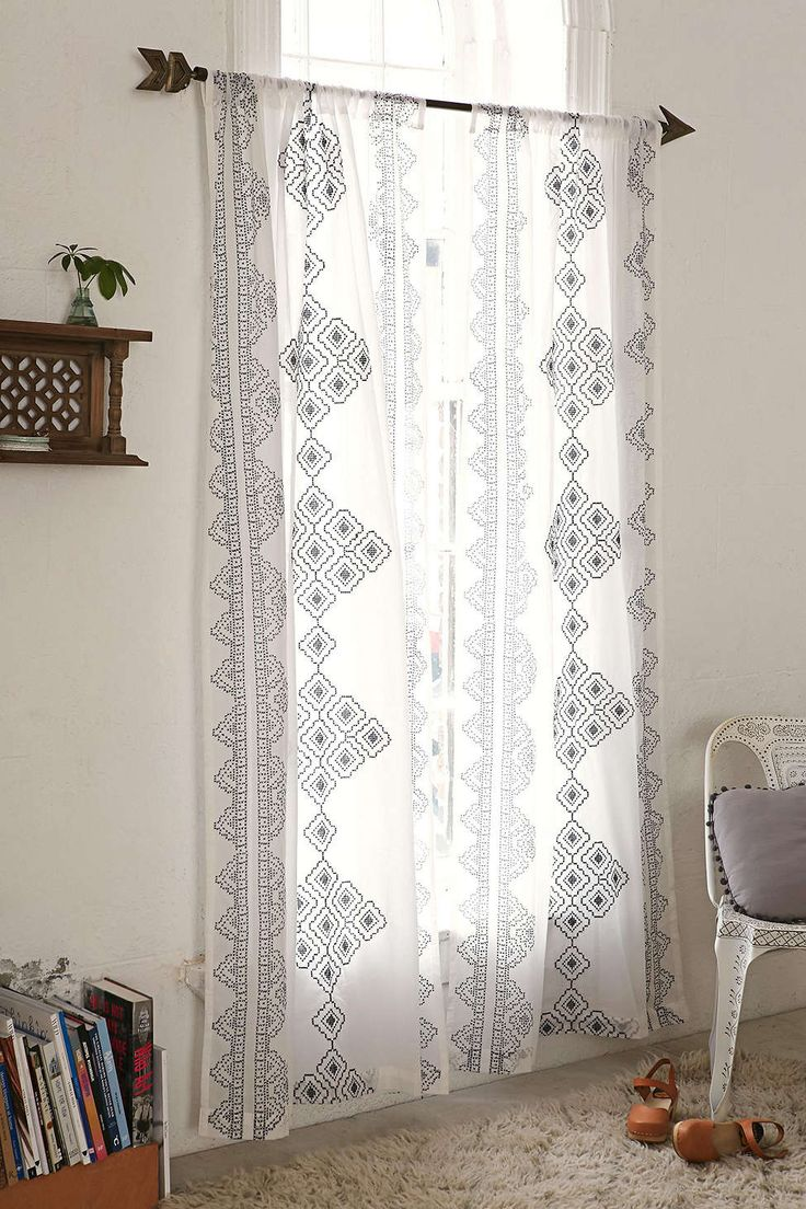 $79 • Buy 2 Get 15% Off Magical Thinking Embroidered Diamond Curtain - Urban Outfitters