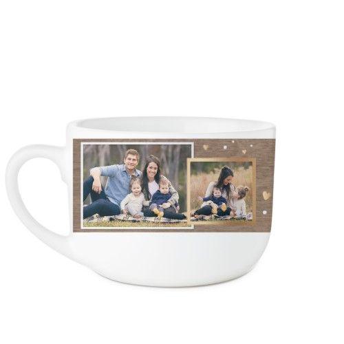 Family Overlap Collage Latte Mug, White, 25oz, Brown